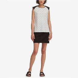 DKNYted Faux-Leather-Trim Top